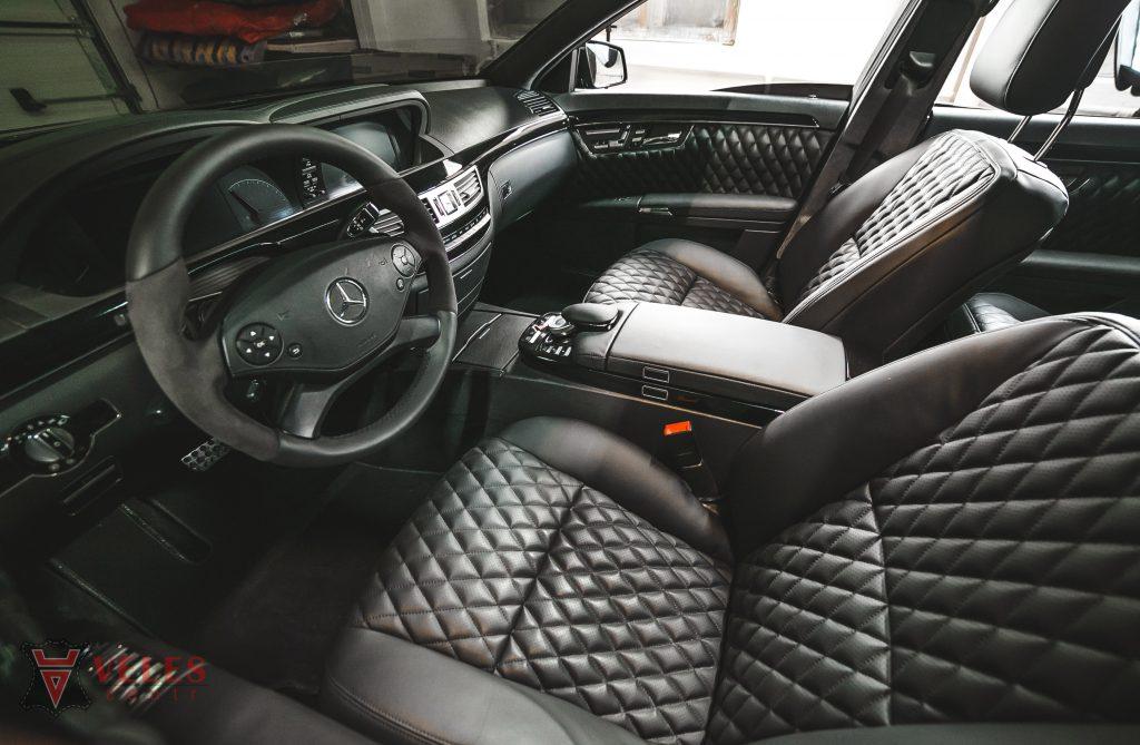 Перетяжка салона в искусственную кожу Mercedes S-klass в Москве