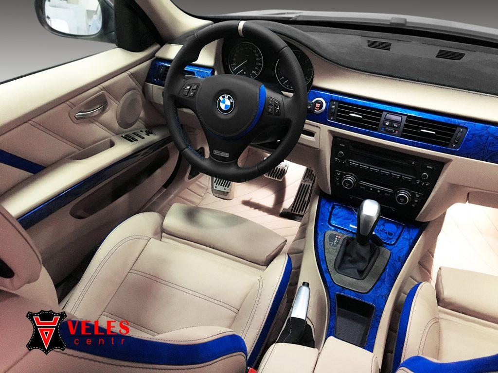 Перешив руля BMW в кожу и alcantara в Москве