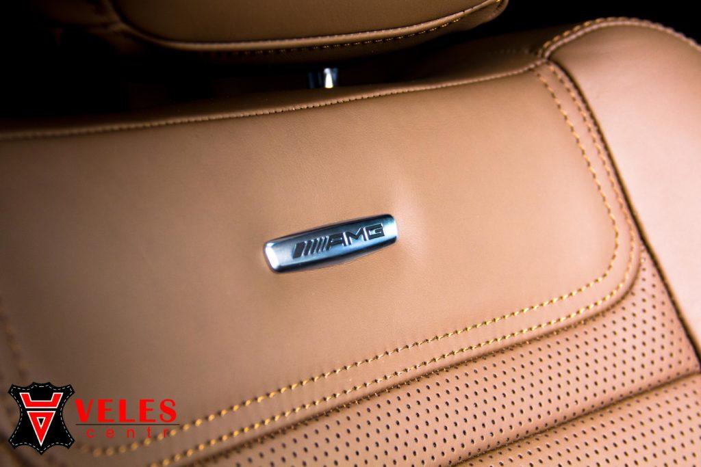 перетяжка салона AMG mercedes в натуральную кожу