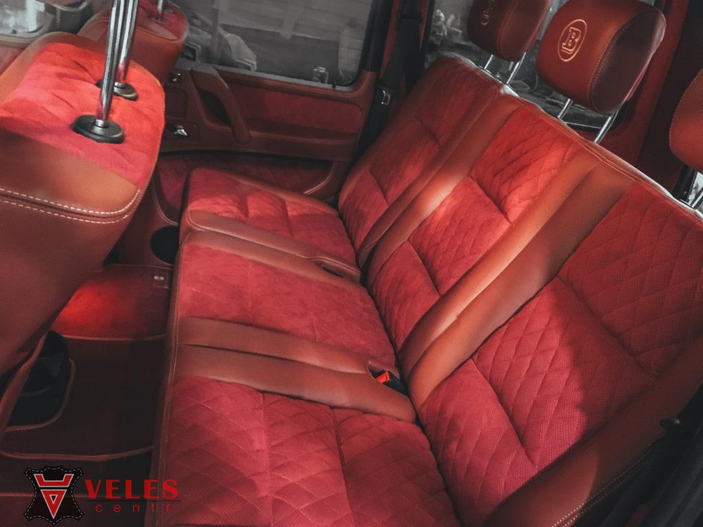 перешив салона и дверных вставок в кожу и алькантра в стиль AMG G63 гелендваген