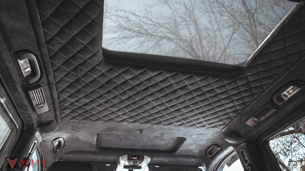 претяжка потолка автомобиля mercedes алькантарой в москве
